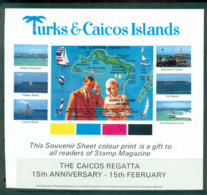 Turks & Caicos Is 1966 Tourism Yachts, Souvenir Sheet, Private Issue, Non Demominated. MUH Lot55111 - Turks And Caicos