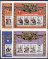 Turks & Caicos Is 1978 QEII Coronation 25th Anniversary 4x Sheetlets MUH - Turks And Caicos