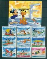Turks & Caicos Is 1984 Disney,Los Angeles Olympics, No Rings + MS MUH Lot79019 - Turks And Caicos