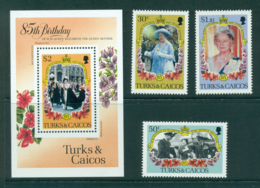 Turks & Caicos Is 1985 Queen Mother 85th Birthday + MS MUH Lot30280 - Turks And Caicos