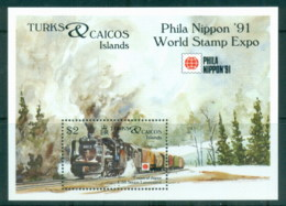 Turks & Caicos Is 1991 Japanese Steam Locomotives, Train, Philanippon MS MUH - Turks And Caicos
