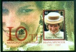 Turks & Caicos Is 2007 Princess Diana In Memoriam, 10th Anniv., The Princess With A Shy Smile MS MUH - Turks And Caicos