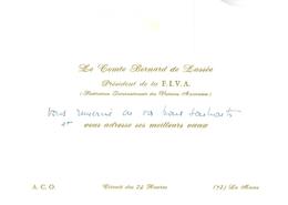 Carte De Voeux Ancienne De Le Comte Bernard De Lassée Président De La F I V A Féd Intern De Voitures Anciennes Le Mans - Visiting Cards