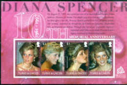 Turks & Caicos Is 2007 Princess Diana In Memoriam, 10th Anniv., The Queen Of People's Hearts MS MUH - Turks And Caicos