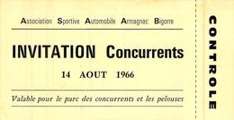 Ticket D'entrée Association Sportive Automobile Armagnac Bigorre 1966 Invitation Concurrents - Tickets - Vouchers