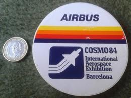 ANTIGUA PEGATINA ADHESIVO RARE OLD STICKER AIRBUS COSMO84 BARCELONA SPAIN AEROSPACE EXHIBITION SPACE AIR BUS AVIÓN PLANE - Pegatinas