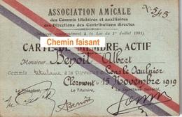 15/11/1919 Carte De Membre Actif ASSOCIATION Contributions Directes BENOIT ALBERT - Scans  Recto-verso - Visiting Cards