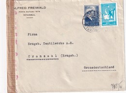 TURQUIE 1943  LETTRE   CENSUREE/ZENSIERT/CENSORED DE INSTANBUL POUR CRANZAHL - Lettres & Documents