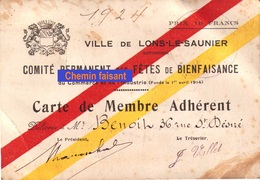 1924 Carte De Membre Ville De LONS-LE-SAUNIER Comité Des Fêtes  - Scans  Recto-verso - Visiting Cards