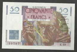 FRANCE 50 FRANCS 20-3-1947 PICK # 127b.1 UNC - 1871-1952 Antiguos Francos Circulantes En El XX Siglo