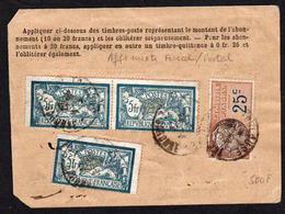 FRANCE: RARE Carte D'abonnement à La Poste Restante. Timbre N° 13 X 3........... - France