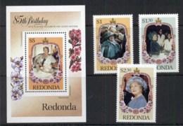 Redonda 1985 Queen Mother 85th Birthday + MS MUH - West Indies