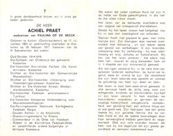Devotie - Doodsprentje Overlijden - Oudstrijder Ere Schepen Achiel Praet - Kalken 1893 - Kasterlee 1977 - Obituary Notices