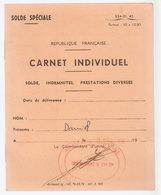 Carnet Solde Armée Francaise - Documents