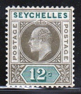 Seychelles Edward VII 1903 Single 12 Cent Olive Sepia And Dull Green Stamp. - Seychelles (...-1976)