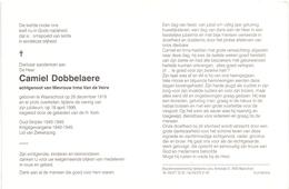 Devotie - Doodsprentje Overlijden - Oudstrijder Camiel Dobbelaere - Waarschoot 1919 - 1999 - Obituary Notices