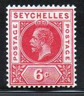 Seychelles George V 1912 Single 6 Cent Carmine Red Stamp. - Seychelles (...-1976)
