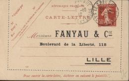 Entier Carte Lettre 10c Semeuse Camée Rouge Repiquage Fanyau Et Cie Lille CAD Le Creuzot Saone Loire 4 10 12 Date 128 - Entiers Postaux