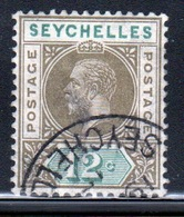 Seychelles George V 1912 Single 12 Cent Olive Sepia And Dull Green Stamp. - Seychelles (...-1976)