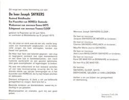 Devotie - Doodsprentje Overlijden - Ere Voorzitter Horeca Oostende - Joseph Snykers - Pepinster 1904 - Middelkerke 1975 - Obituary Notices