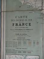 Antieke Carte Des CHEMINS De FER De La FRANCE 1882 - Chemin De Fer