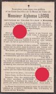 Mr Alphonse Lecoq Vieux Waleffe 1901 - Les Waleffes 1933 Instituteur Au Collège St Louis à Waremme - Obituary Notices