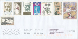 France Cover Sent To Denmark 18-1-2002 With A Lot Of Stamps But No Postmarks - France