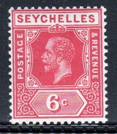 Seychelles George V 1917 Single 6 Cent Carmine Stamp. - Seychelles (...-1976)
