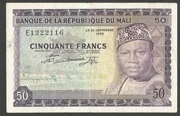 MALI 50 Francs 1960 (1967) Second Issue P-6 VF RARE - Mali