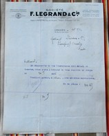 87 LIMOGES 75 PARIS 10e Manufacture De Porcelaines Et D'Appareillage Electrique F. LEGRAND 55 REVIGNY - 1900 – 1949
