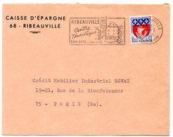 RHIN / Haut - Dépt N° 68 = RIBEAUVILLE 1968 =  FLAMME Codée = SECAP Illustrée 'CENTRE TOURISTIQUE / SITE - VINS' - Marcophilie (Lettres)