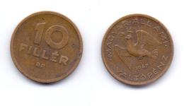 Hungary 10 Filler 1947 First Republic - Hungary