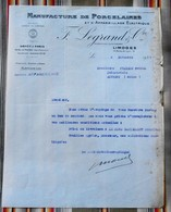 87 LIMOGES 75 PARIS 10e Manufacture De Porcelaines Et D'Appareillage Electrique LEGRAND & Cie 55 REVIGNY - 1900 – 1949