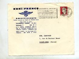Devant De Lettre Flamme Antibes Fleur Musee Entete Amortisseur Koni - Postmark Collection (Covers)