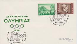 FDC GRECE JEUX OLYMPIQUES DE TOKYO 1964 - Verano 1964: Tokio