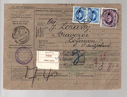1927 Parcel Card The Simon Artz Store Port Saïd > J. Lorang Zofingen Switzerland (84) - Ägypten