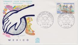 FDC FRANCE JEUX OLYMPIQUES DE MEXICO 1968 - Zomer 1968: Mexico-City