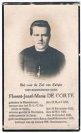 Dp. Onder-Pastoor Te Zuen. De Corte Florent. ° Ramsdonck 1898 † Zuen 1928   (2 Scan's) - Religion & Esotérisme