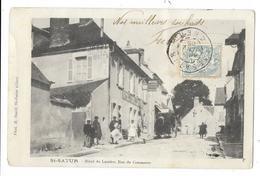 Cpa: 18 SAINT SATUR (ar. Bourges) Hôtel Du Laurier, Rue Du Commerce (Attelage, Précurseur) 1905 (état) - Saint-Satur