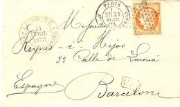 1873- Lettre De Paris / Bd Beaumarchais  Affr. N°38 SEUL Oblit. étoile 12 - Marcophilie (Lettres)