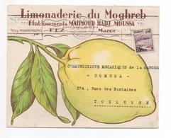 ENVELOPPE PUBLICITAIRE  LIMONADERIE DU MONGHREB 22 JANVIER 1954 - Marruecos (1956-...)