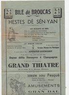 """Brocas / Broucas (40 Landes) Programme-affichette  Des """"HESTE DE Sén-Yan"""" 1948 ) (PPP9667) - Programs"""