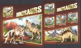 UU495 2017 SIERRA LEONE FAUNA PREHISTORIC ANIMALS DINOSAURS KB+BL MNH - Prehistorics