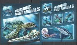 UU496 2017 SIERRA LEONE FAUNA DINOSAURS PREHISTORIC WATER ANIMALS KB+BL MNH - Prehistorics