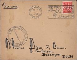 Armée Française Au Moyen Congo YT FM 12 CAD Brazzaville RP 1957 Flamme Chasse éléphant Cachet Bataillon Tirailleurs - Congo Français (1891-1960)