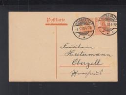 Dt. Reich Frage-Karte 1920 Sterbfritz Nach Oberzell - Briefe U. Dokumente