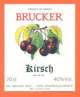étiquette D'eau De Vie De Kirsch Brucker à Fougerolles - 70 Cl - Etiquettes