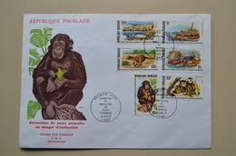 Togo Maxi FDC 1977 Protection Animaux En Danger Extinction Chimpanzé Singe Colobus Panthère Crocodile  Trichechus Tiger - Environment & Climate Protection