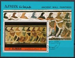 Ajman 1972 Bf. Ancient Wall Paintings Sheet Nuovo CTO  Perf. - Arqueología