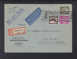 Dt. Reich Luftpostbrief 1934 Hamburg Nach Ceylon - Storia Postale